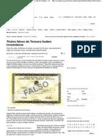 Títulos falsos do Tesouro iludem investidores - Mercado de Capitais - iG