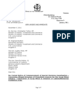 Letter sent by Contractor General regarding Scrap Metal Investigation