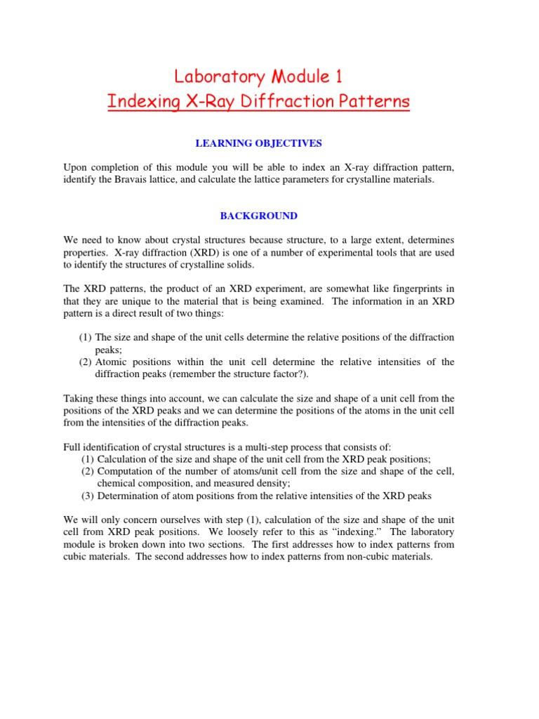 lattice parameter calculation