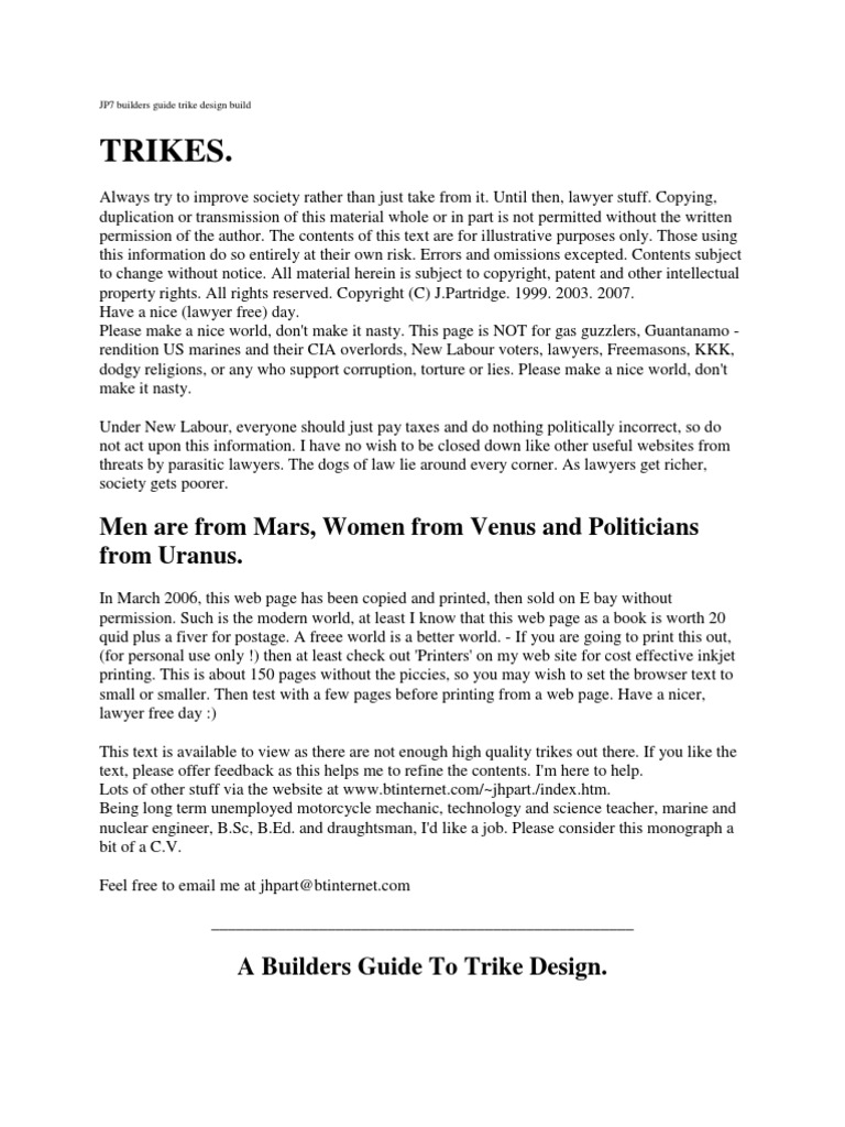 Jp7 builders guide trike design build tire suspension vehicle sciox Image collections