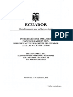 Intervencion Del Embajador Francisco Carrion Mena Represent Ante Permanente Del Ecuador Ante La 66 Sesion de La ONU