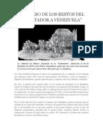Regreso de Los Restos Del Liber Tad Or a Venezuela