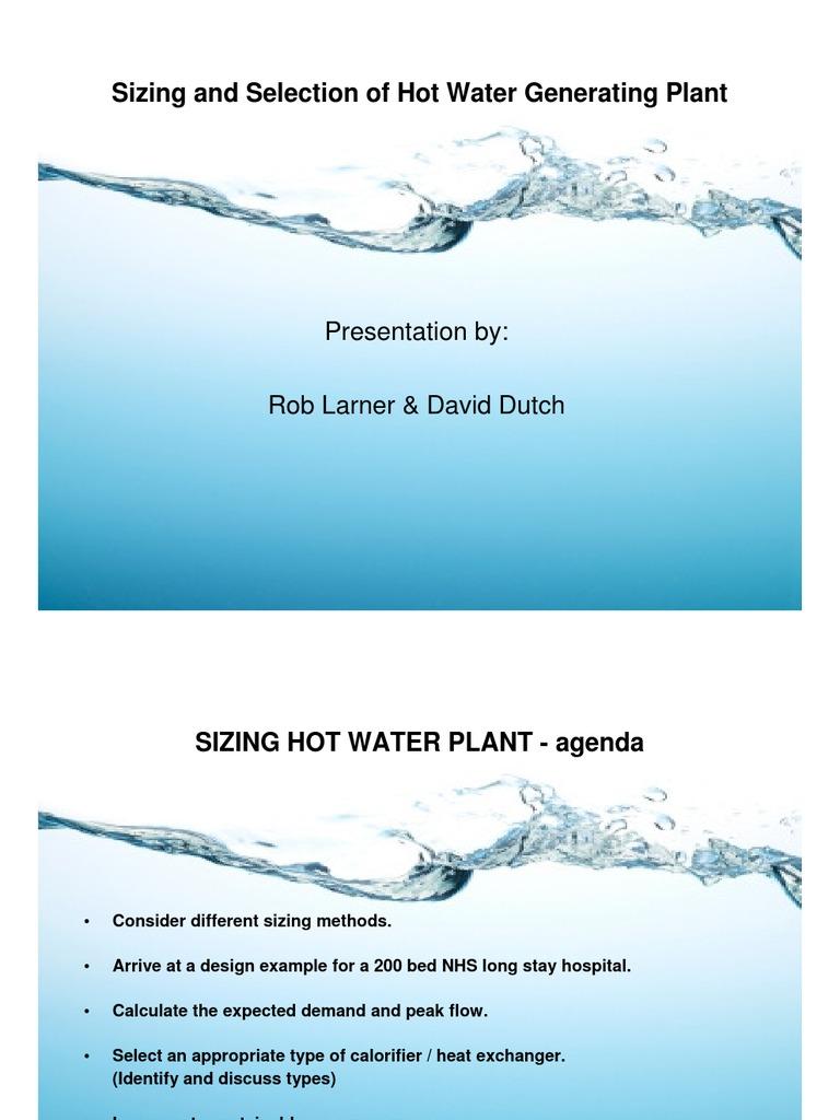 SoPHE NW HW Sizing Presentation   Water Heating   Heat Exchanger