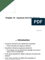 Aqueous Ionic Equilibrium