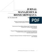 Jurnal Manajemen Dan Bisnis Sriwijaya