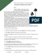 Ficha 8º ano- Perturbações no equilíbrio dos ecossistemas