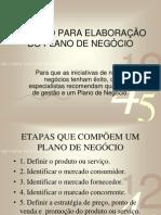 ROTEIRO PARA ELABORAÇÃO DO PLANO DE NEGÓCIO