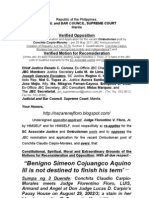 Verified Opposition to the JBC Nomination and Application for the vacant Ombudsman post by Conchita Carpio-Morales