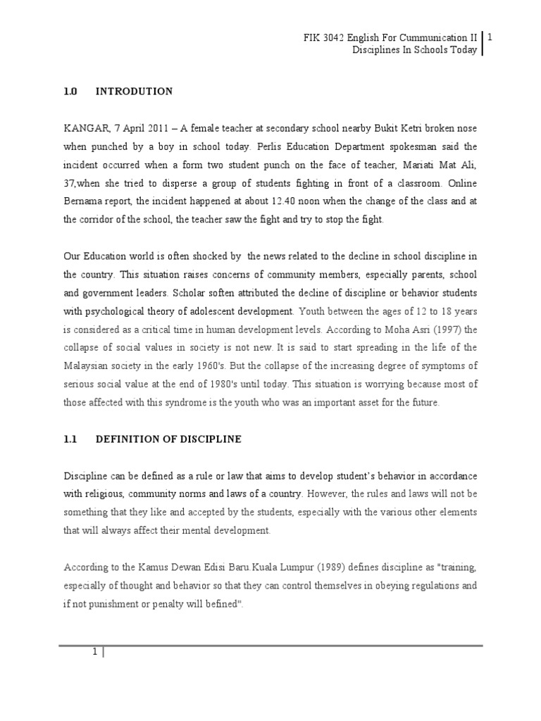 essay on discipline of a student Discipline in school life is very important for students we can't be well educated without discipline just like the walls of a canal don't let the water go outside it and guide the water to the field, the discipline in school doesn't let the students go outside their ethical and moral boundaries.