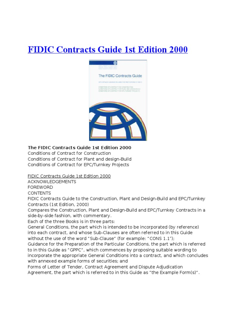 fidic contract books general contractor adjudication rh fr scribd com fidic contracts guide free download fidic contracts guide