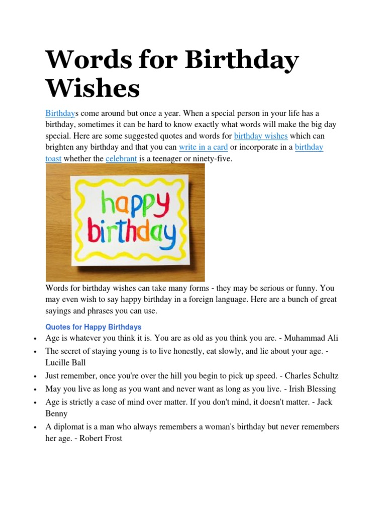 words for birthday wishes birthdays languages