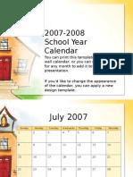 School Calendar - 2007-2008
