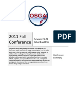 2011 Ohio Student Government Association  Fall Statewide Conference - Summary