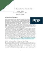 Turing, Alan - Manual for the Ferranti MK-I