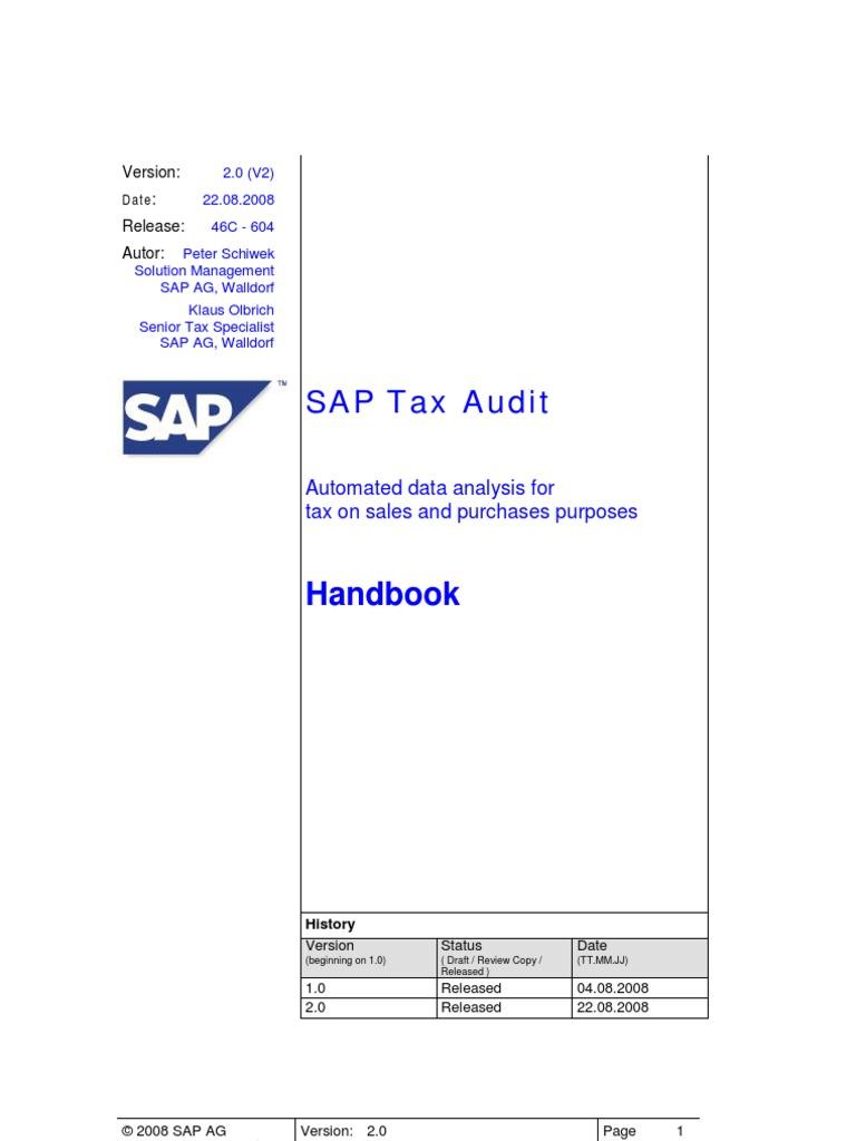 SAP TaxAudit Handbook | Value Added Tax | Sap Se
