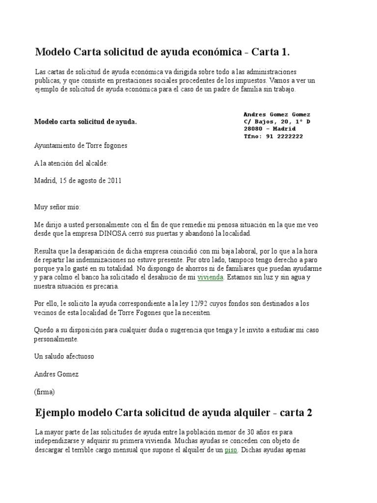 Modelo carta solicitud de ayuda econ mica for Contrato trabajo indefinido servicio hogar familiar