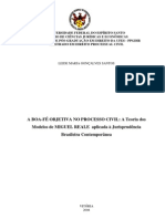 A boa fé objetiva no processo civil - A teotia dos modelos de Miguel Reale