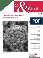 CONSIDERACIONES SOBRE EL EMBRIÓN HUMANO. 2009 - INSTITUTO BORJA DE BIOÉTICA, UNIVERSITAT RAMON LLULL