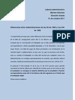 diferencias entre no pago de cesantías definitivas al retiro dels ervicio y no consignación oportuna