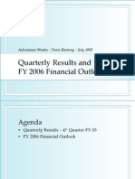 Quarterly Results and FY 2006 Financial Outlook