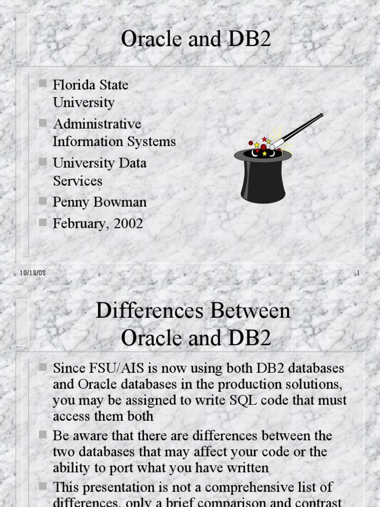 OracleVsDB2 | Ibm Db2 | Oracle Database