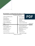 Learning Styles David Kolb