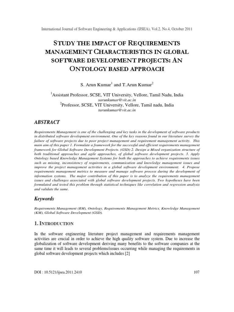 STUDY THE IMPACT OF REQUIREMENTS MANAGEMENT CHARACTERISTICS