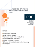 Highlights of Union Budget of India 2006-2007