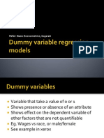 Dummy Variable Regression Models