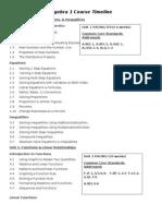 Algebra 1 Course Timeline Textbook Guide