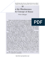 BERGER, Peter - On the Obsolescence of the Concept of Honor