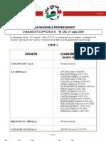"""Comunicati Segreteria N°10 (2009–10 season)"