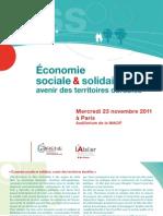 [Programme] Économie sociale & solidaire avenir des territoires durables du 23 novembre 2011