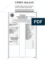 Specimen Ballot for the Nov. 8, 2011 election in North Adams, Mass.