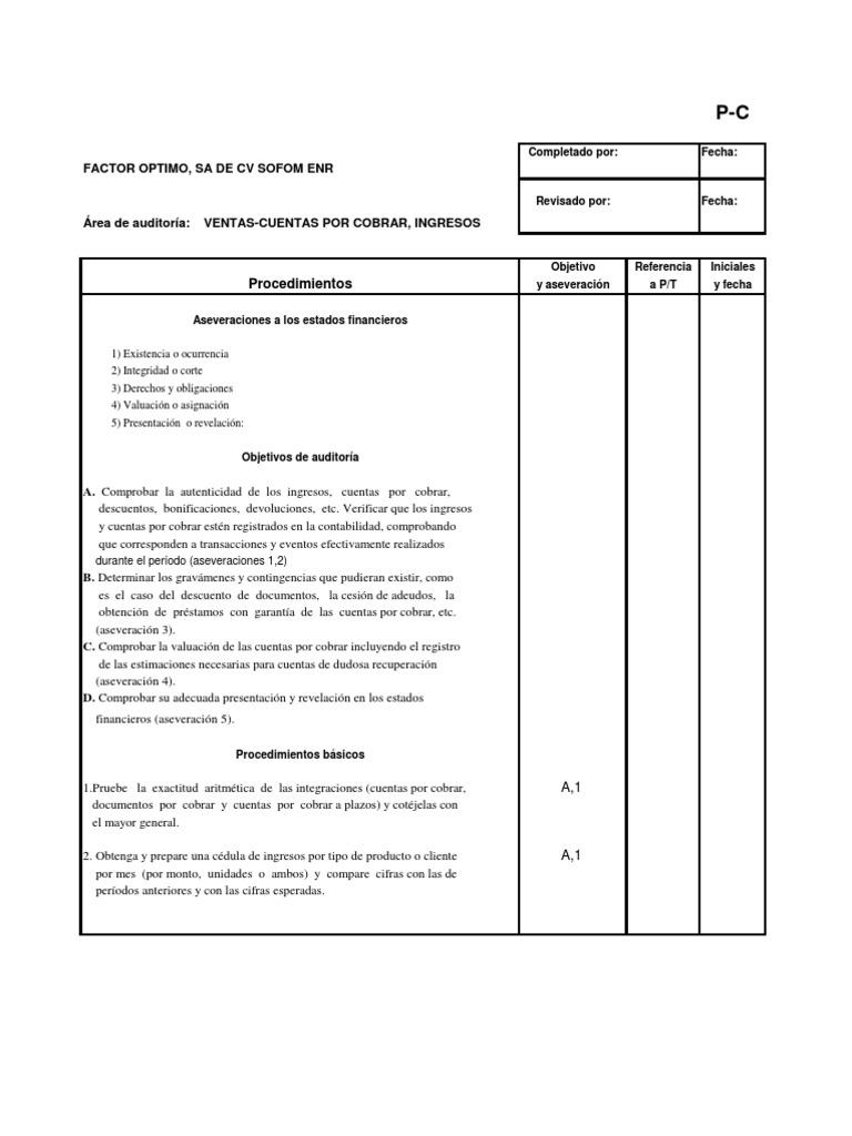 P - C Ventas, cuentas por cobrar- programa de auditoría