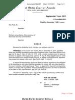 TAITZ v ASTRUE (APPEAL - US COURT OF APPEALS D.C. CIR) - CLERK'S ORDER - Transport Room Order 11-7-11