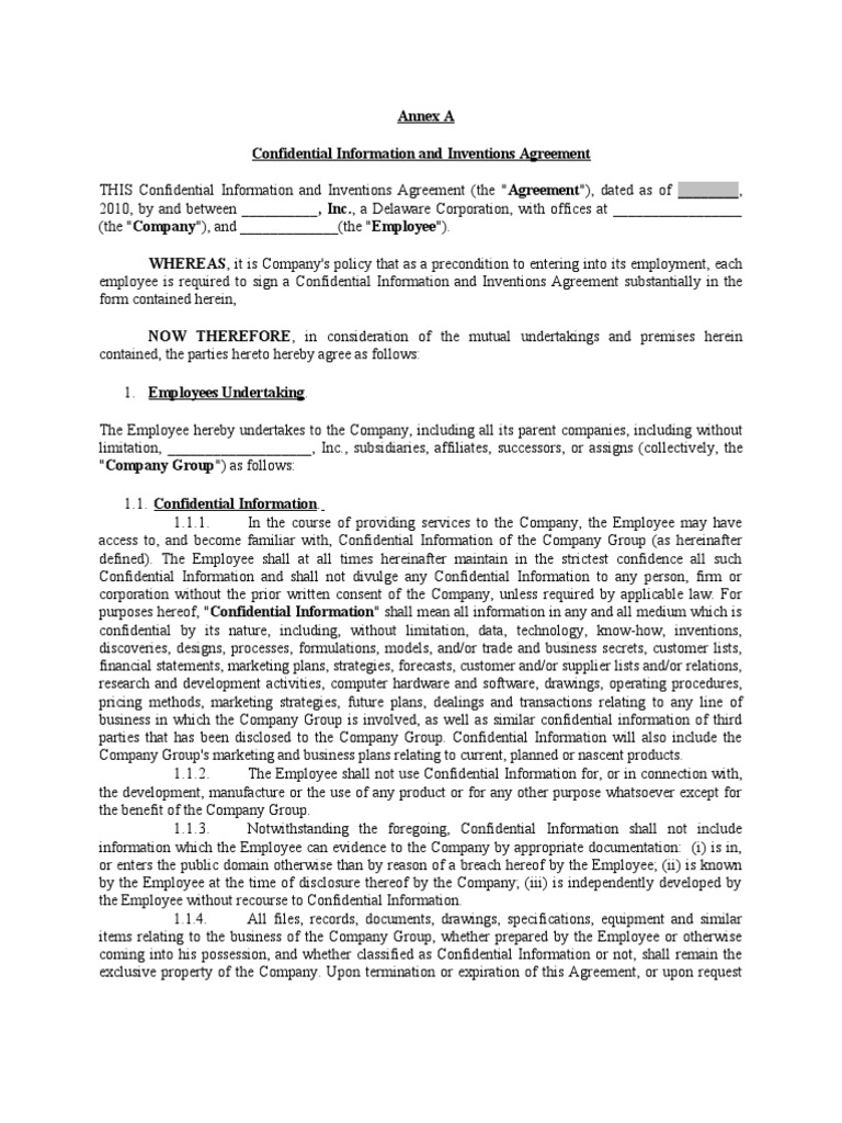 Employee nda template california 1 indemnity confidentiality platinumwayz