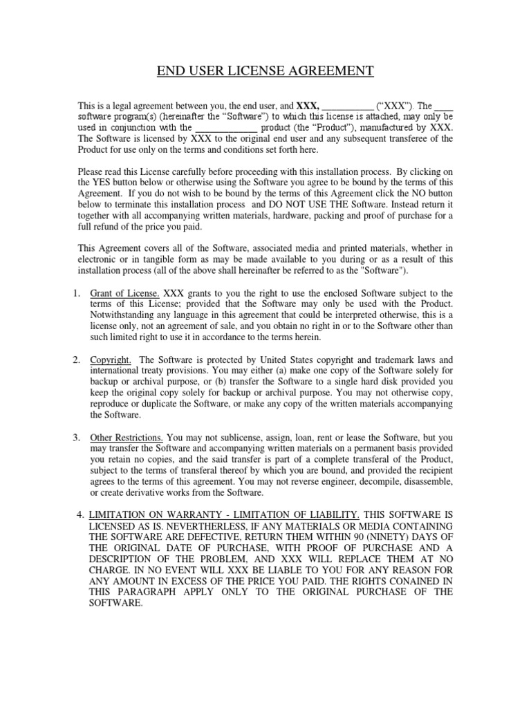 End User License Agreement Template 3 License Trademark