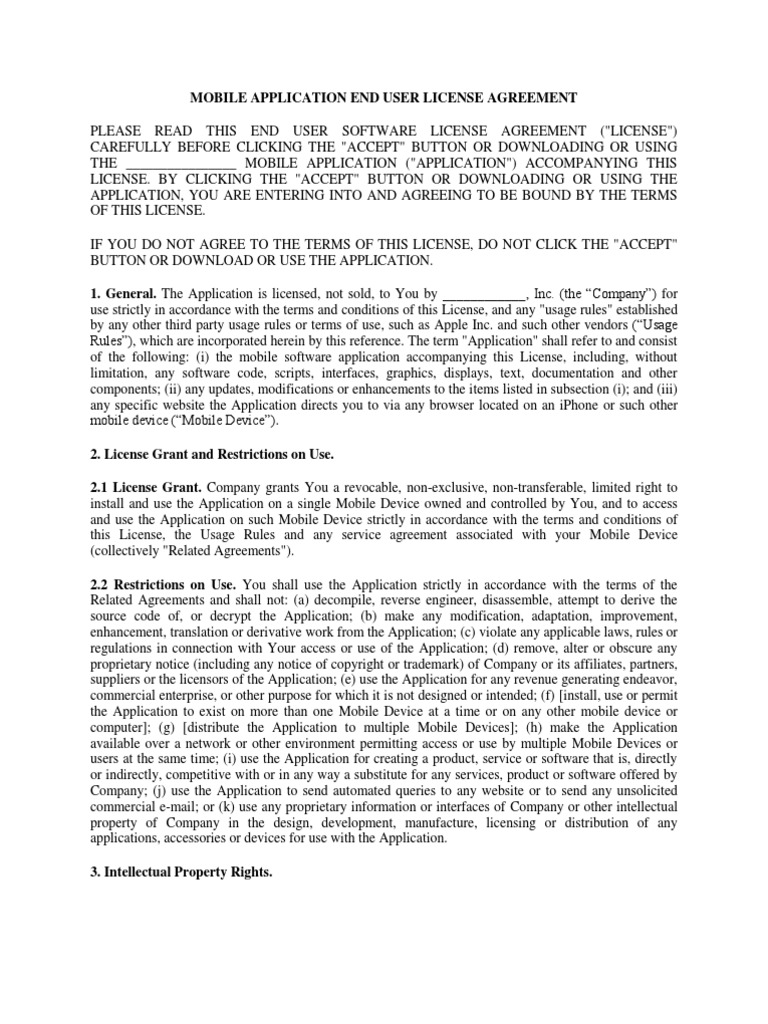 Mobile Application End User License Agreement Template 1 – License Agreement Template