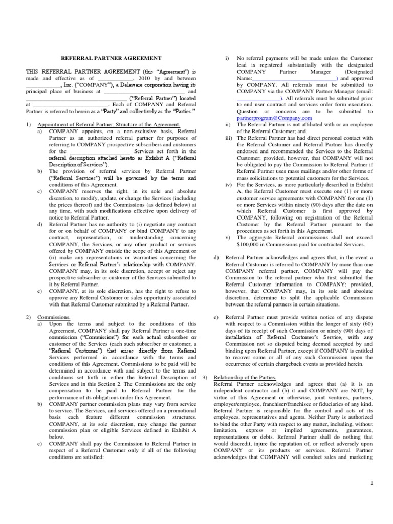 Referral Partner Agreement Template - 1 | Indemnity | Contractual Term