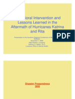 6-Behavioral Intervention and Lessons Learned in the Aftermath of Katrina and Rita - Anthony Speier