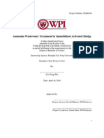 Ammonia Waste Water Treatment by Immobilized Activated Sludge
