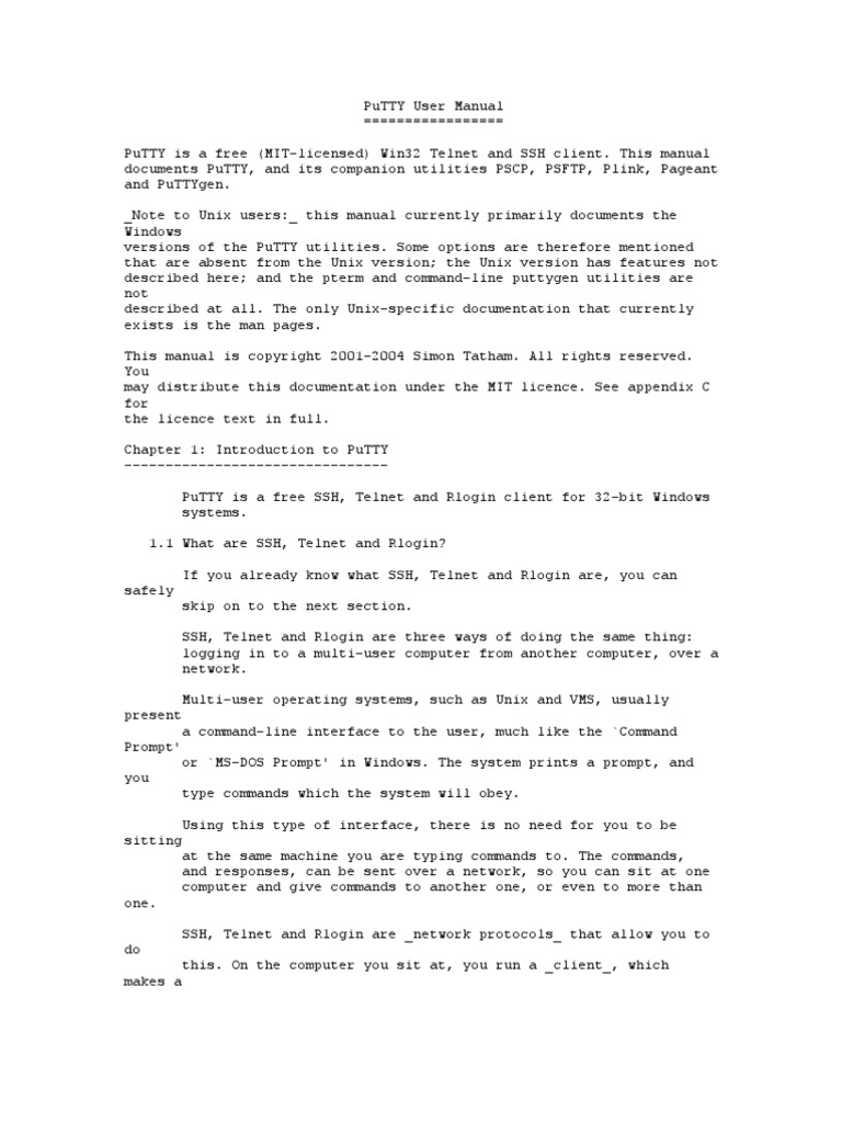 putty user manual secure shell port computer networking rh scribd com unix user guide kettler unix e user manual