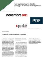 Epoké. Osservatorio intention polls - novembre 2011