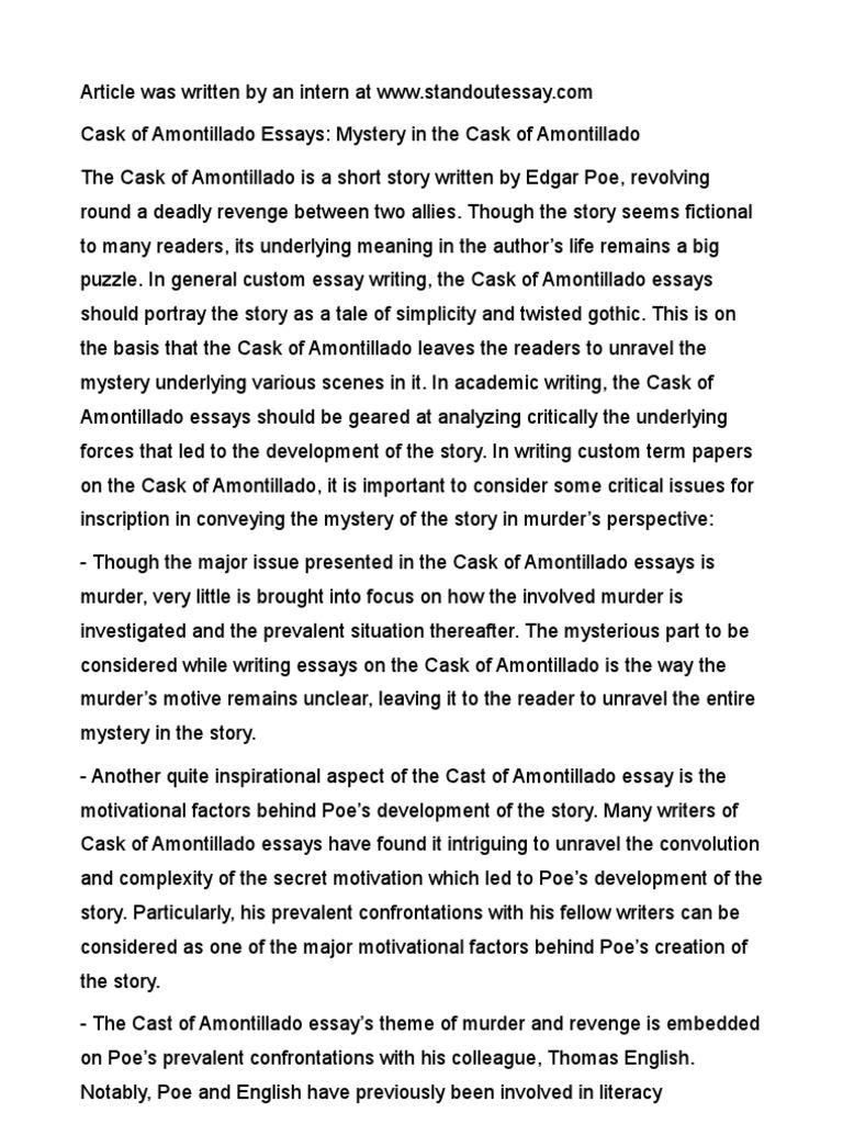 essay revenge cask amontillado The cask of amontillado term papers available at planet paperscom, the largest free term paper community.