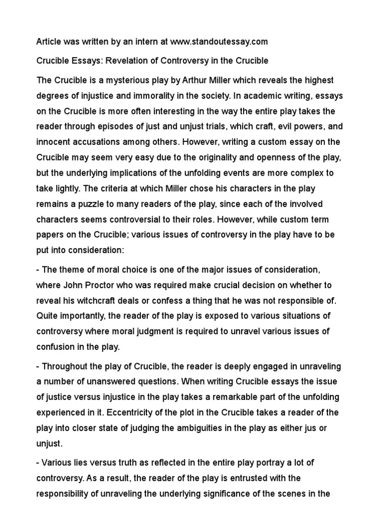 essays on the crucible
