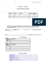 Testing Checklist Product Version