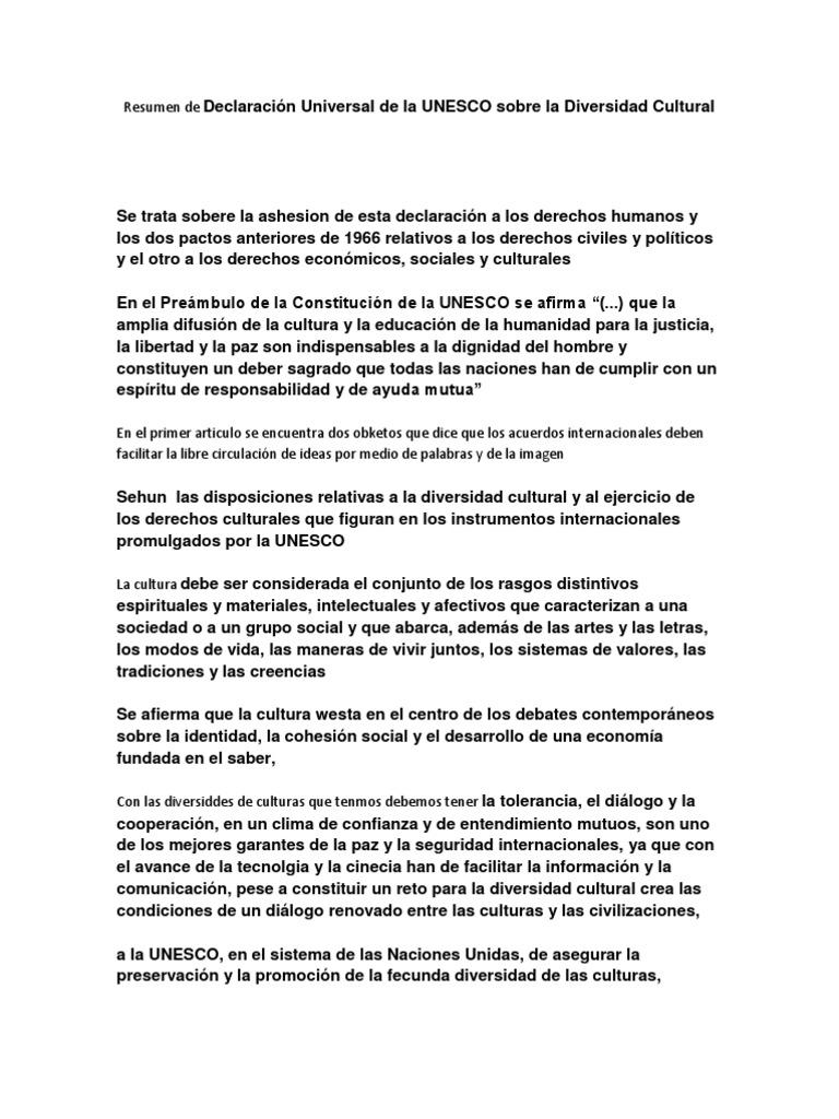 Resumen de Declaración Universal de la UNESCO sobre la ...