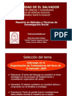 Presentación investigación liderazgo en la organización trabajadoras del sexo.