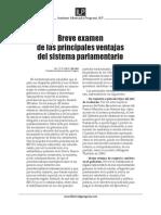 Breve Examen de Las Principales Ventajas Del Sistema Parlamentario